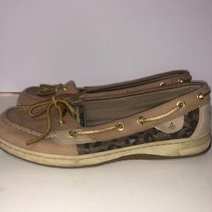 Sperry leather animal print boat shoes size 8